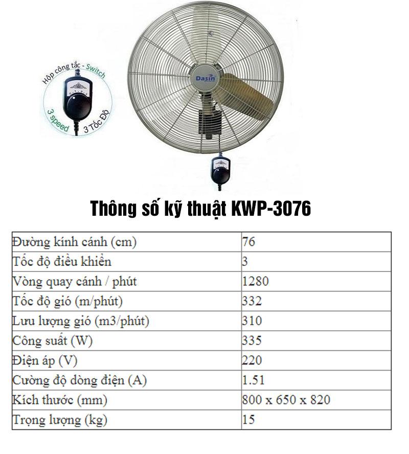 thông số quạt treo tường công nghiệp KWP-3076