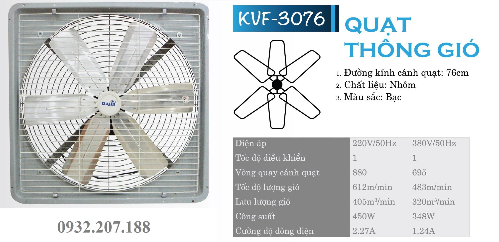 Quạt thông gió Dasin công suất lớn KVF- 3076