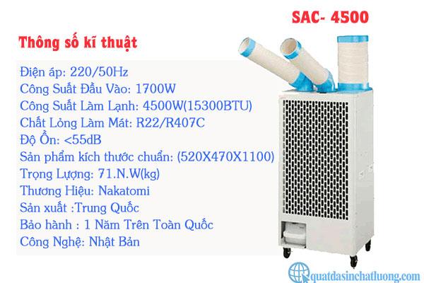 thông số kĩ thuật máy lạnh di động SAC- 4500